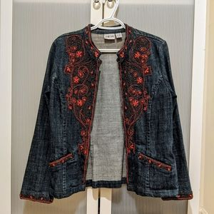 CHICO'S denim jacket with embroided embellishment